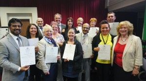 Certificates presented by Roger Platt (Chair of Link4Life), Councillor M Zaman, Councillor Cecil Biant
